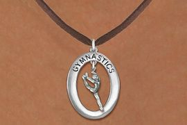 "<bR>                   EXCLUSIVELY OURS!! <BR>              AN ALLAN ROBIN DESIGN!!<BR>                 LEAD & NICKEL FREE!! <BR> W19994N -  SILVER TONE ""GYMNASTICS"" <BR>   OVAL WITH LEAPING POSE GYMNAST <BR>    CHARM ON BROWN SUEDE NECKLACE <BR>            FROM $6.41 TO $14.25 �2013"