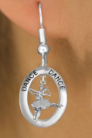 """<bR>                    EXCLUSIVELY OURS!! <BR>               AN ALLAN ROBIN DESIGN!!<BR>                  LEAD & NICKEL FREE!! <BR>  W20003E -  SILVER TONE """"DANCE"""" OVAL <BR>      WITH SILVER TONE BALLET COUPLE <BR>       CHARM ON FISHHOOK EARRINGS <BR>             FROM $8.10 TO $18.00 �2013"""