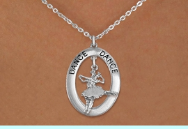 """<bR>                    EXCLUSIVELY OURS!! <BR>               AN ALLAN ROBIN DESIGN!!<BR>                  LEAD & NICKEL FREE!! <BR>  W20004N -  SILVER TONE """"DANCE"""" OVAL <BR> WITH SILVER TONE DANCING BALLET COUPLE <BR>       CHARM ON CHAIN LINK NECKLACE <BR>                     $10.38 EACH �2013"""