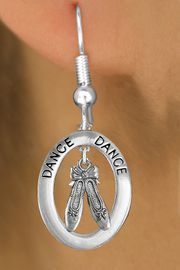 """<bR>                    EXCLUSIVELY OURS!! <BR>               AN ALLAN ROBIN DESIGN!!<BR>                  LEAD & NICKEL FREE!! <BR>  W20005E -  SILVER TONE """"DANCE"""" OVAL <BR>    WITH SILVER TONE BALLET SLIPPERS <BR>       CHARM ON FISHHOOK EARRINGS <BR>             FROM $8.10 TO $18.00 �2013"""