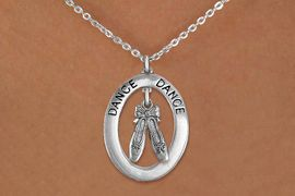 """<bR>                    EXCLUSIVELY OURS!! <BR>               AN ALLAN ROBIN DESIGN!!<BR>                  LEAD & NICKEL FREE!! <BR>  W20006N -  SILVER TONE """"DANCE"""" OVAL <BR>    WITH SILVER TONE BALLET SLIPPERS <BR>       CHARM ON CHAIN LINK NECKLACE <BR>           FROM $5.85 TO $13.00 �2013"""
