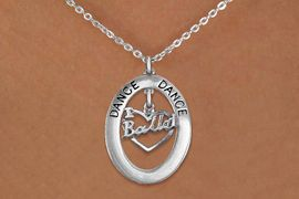 """<bR>                    EXCLUSIVELY OURS!! <BR>               AN ALLAN ROBIN DESIGN!!<BR>                  LEAD & NICKEL FREE!! <BR>  W20008N -  SILVER TONE """"DANCE"""" OVAL <BR>    WITH SILVER TONE """"I LOVE BALLET"""" <BR>       CHARM ON CHAIN LINK NECKLACE <BR>           FROM $5.85 TO $13.00 �2013"""