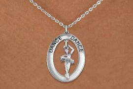 """<bR>                    EXCLUSIVELY OURS!! <BR>               AN ALLAN ROBIN DESIGN!!<BR>                  LEAD & NICKEL FREE!! <BR>  W20010N -  SILVER TONE """"DANCE"""" OVAL <BR>    WITH SILVER TONE POSED BALLERINA <BR>       CHARM ON CHAIN LINK NECKLACE <BR>           FROM $5.85 TO $13.00 �2013"""