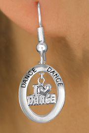 """<bR>                    EXCLUSIVELY OURS!! <BR>               AN ALLAN ROBIN DESIGN!!<BR>                  LEAD & NICKEL FREE!! <BR>  W20011E -  SILVER TONE """"DANCE"""" OVAL <BR>    WITH SILVER TONE """"I LOVE DANCE"""" <BR>       CHARM ON FISHHOOK EARRINGS <BR>          FROM $8.10 TO $18.00 �2013"""