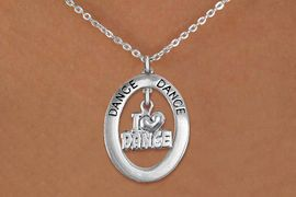 """<bR>                    EXCLUSIVELY OURS!! <BR>               AN ALLAN ROBIN DESIGN!!<BR>                  LEAD & NICKEL FREE!! <BR>  W20012N -  SILVER TONE """"DANCE"""" OVAL <BR>     WITH SILVER TONE """"I LOVE DANCE"""" <BR>       CHARM ON CHAIN LINK NECKLACE <BR>           FROM $5.85 TO $13.00 �2013"""