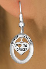 """<bR>                    EXCLUSIVELY OURS!! <BR>               AN ALLAN ROBIN DESIGN!!<BR>                  LEAD & NICKEL FREE!! <BR>  W20013E -  SILVER TONE """"DANCE"""" OVAL <BR>    WITH SILVER TONE """"I LOVE TO DANCE"""" <BR> HEART CHARM ON FISHHOOK EARRINGS <BR>          FROM $8.10 TO $18.00 �2013"""