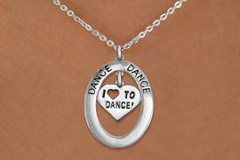 """<bR>                    EXCLUSIVELY OURS!! <BR>               AN ALLAN ROBIN DESIGN!!<BR>                  LEAD & NICKEL FREE!! <BR>  W20014N -  SILVER TONE """"DANCE"""" OVAL <BR>     WITH SILVER TONE """"I LOVE TO DANCE"""" <BR> HEART CHARM ON CHAIN LINK NECKLACE <BR>           FROM $5.85 TO $13.00 �2013"""