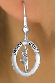 """<bR>                     EXCLUSIVELY OURS!! <BR>                AN ALLAN ROBIN DESIGN!!<BR>                   LEAD & NICKEL FREE!! <BR>   W20015E -  SILVER TONE """"DANCE"""" OVAL <BR> WITH SILVER TONE POINTED BALLET SHOE <BR>        CHARM ON FISHHOOK EARRINGS <BR>           FROM $8.10 TO $18.00 �2013"""