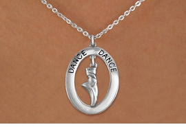 "<bR>                    EXCLUSIVELY OURS!! <BR>               AN ALLAN ROBIN DESIGN!!<BR>                  LEAD & NICKEL FREE!! <BR>  W20016N -  SILVER TONE ""DANCE"" OVAL <BR> WITH SILVER TONE POINTED BALLET SHOE <BR>       CHARM ON CHAIN LINK NECKLACE AS LOW AS $7.95"
