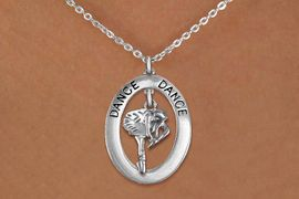 """<bR>                    EXCLUSIVELY OURS!! <BR>               AN ALLAN ROBIN DESIGN!!<BR>                  LEAD & NICKEL FREE!! <BR>  W20018N -  SILVER TONE """"DANCE"""" OVAL <BR>    WITH SILVER TONE POSED BALLERINA <BR>       CHARM ON CHAIN LINK NECKLACE <BR>           FROM $5.85 TO $13.00 �2013"""