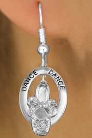 """<bR>                    EXCLUSIVELY OURS!! <BR>               AN ALLAN ROBIN DESIGN!!<BR>                  LEAD & NICKEL FREE!! <BR>  W20019E -  SILVER TONE """"DANCE"""" OVAL <BR> WITH AUSTRIAN CRYSTAL COVERED BALLET <BR> SLIPPER CHARM ON FISHHOOK EARRINGS <BR>          FROM $13.50 TO $30.00 �2013"""