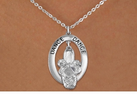 "<bR>                    EXCLUSIVELY OURS!! <BR>               AN ALLAN ROBIN DESIGN!!<BR>                  LEAD & NICKEL FREE!! <BR>  W20020N -  SILVER TONE ""DANCE"" OVAL <BR>  WITH AUSTIAN CRYSTAL COVERED BALLET <BR> SLIPPER CHARM ON CHAIN LINK NECKLACE AS LOW AS $7.95"