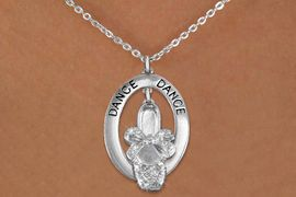 """<bR>                    EXCLUSIVELY OURS!! <BR>               AN ALLAN ROBIN DESIGN!!<BR>                  LEAD & NICKEL FREE!! <BR>  W20020N -  SILVER TONE """"DANCE"""" OVAL <BR>  WITH AUSTIAN CRYSTAL COVERED BALLET <BR> SLIPPER CHARM ON CHAIN LINK NECKLACE <BR>           FROM $8.66 TO $19.25 �2013"""