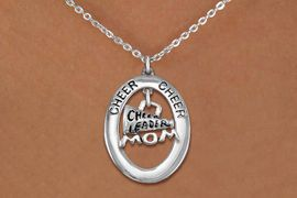 """<bR>                   EXCLUSIVELY OURS!! <BR>              AN ALLAN ROBIN DESIGN!!<BR>                 LEAD & NICKEL FREE!! <BR> W20027N -  SILVER TONE """"CHEER"""" OVAL <BR>  WITH """"CHEERLEADER MOM"""" MEGAPHONE <BR>      CHARM ON CHAIN LINK NECKLACE <BR>          FROM $5.85 TO $13.00 �2013"""