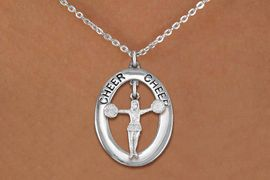 """<bR>                   EXCLUSIVELY OURS!! <BR>              AN ALLAN ROBIN DESIGN!!<BR>                 LEAD & NICKEL FREE!! <BR> W20031N -  SILVER TONE """"CHEER"""" OVAL <BR>  WITH POM POMS CHEERLEADER CHARM <BR>      CHARM ON CHAIN LINK NECKLACE <BR>          FROM $5.85 TO $13.00 �2013"""