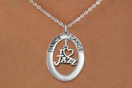 """<bR>                     EXCLUSIVELY OURS!! <BR>                AN ALLAN ROBIN DESIGN!! <BR>                   LEAD & NICKEL FREE!! <BR>   W20037N -  SILVER TONE """"DANCE"""" OVAL <BR>       WITH SILVER TONE """"I LOVE JAZZ"""" <BR>        CHARM ON CHAIN LINK NECKLACE <BR>                     $10.38 EACH �2013"""