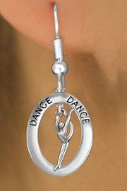 """<bR>                    EXCLUSIVELY OURS!! <BR>               AN ALLAN ROBIN DESIGN!!<BR>                  LEAD & NICKEL FREE!! <BR> W20038E -  SILVER TONE """"DANCE"""" OVAL <BR>    WITH SILVER TONE MODERN DANCER <BR>       CHARM ON FISHHOOK EARRINGS <BR>                     $12.68 EACH  �2013"""
