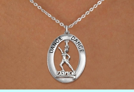"""<bR>                     EXCLUSIVELY OURS!! <BR>                AN ALLAN ROBIN DESIGN!! <BR>                   LEAD & NICKEL FREE!! <BR>   W20041N -  SILVER TONE """"DANCE"""" OVAL <BR> WITH SILVER TONE DANCER WITH HAT """"DANCE""""<BR>        CHARM ON CHAIN LINK NECKLACE <BR>                         $10.38 EACH  �2013"""