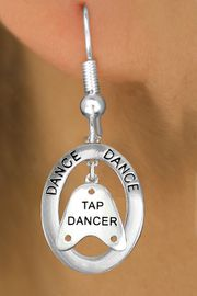 "<bR>                    EXCLUSIVELY OURS!! <BR>               AN ALLAN ROBIN DESIGN!!<BR>                  LEAD & NICKEL FREE!! <BR> W20042E -  SILVER TONE ""DANCE"" OVAL <BR> WITH SILVER TONE ""TAP DANCER"" SHOE TAP <BR>       CHARM ON FISHHOOK EARRINGS <BR>                      $12.68 EACH �2013"