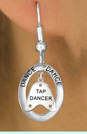 """<bR>                    EXCLUSIVELY OURS!! <BR>               AN ALLAN ROBIN DESIGN!!<BR>                  LEAD & NICKEL FREE!! <BR> W20042E -  SILVER TONE """"DANCE"""" OVAL <BR> WITH SILVER TONE """"TAP DANCER"""" SHOE TAP <BR>       CHARM ON FISHHOOK EARRINGS <BR>                      $12.68 EACH �2013"""