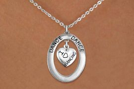 """<bR>                     EXCLUSIVELY OURS!! <BR>                AN ALLAN ROBIN DESIGN!! <BR>                   LEAD & NICKEL FREE!! <BR>   W20045N -  SILVER TONE """"DANCE"""" OVAL <BR> WITH SILVER TONE """"I LOVE DANCING"""" HEART <BR>        CHARM ON CHAIN LINK NECKLACE <BR>                        $10.38 EACH �2013"""