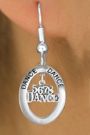"""<bR>                    EXCLUSIVELY OURS!! <BR>               AN ALLAN ROBIN DESIGN!!<BR>                  LEAD & NICKEL FREE!! <BR> W20050E -  SILVER TONE """"DANCE"""" OVAL <BR>      WITH SILVER TONE """"5678 DANCE"""" <BR>       CHARM ON FISHHOOK EARRINGS <BR>                   $12.68 EACH �2013"""