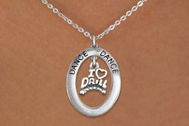 "<bR>                   EXCLUSIVELY OURS!! <BR>              AN ALLAN ROBIN DESIGN!! <BR>                 LEAD & NICKEL FREE!! <BR> W20053N -  SILVER TONE ""DANCE"" OVAL <BR>     WITH SILVER TONE ""I LOVE DRILL"" <BR>      CHARM ON CHAIN LINK NECKLACE <BR>                    $10.38 EACH �2013"
