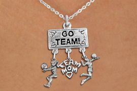 """<Br>               EXCLUSIVELY OURS!! <Br>          AN ALLAN ROBIN DESIGN!! <Br>             LEAD & NICKEL FREE!! <BR> W20212N - SILVER TONE """"GO TEAM!"""" <BR> LADY'S VOLLEYBALL THEMED PENDANT <BR>  WITH BUMP, """"TEAM MOM"""" AND SERVE <BR> CHARMS ON LOBSTER CLASP NECKLACE <BR>       FROM $9.00 TO $20.00 �2013"""