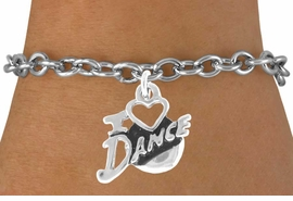 "<bR>      EXCLUSIVELY OURS!!<Br> AN ALLAN ROBIN DESIGN!!<BR>      LEAD & NICKEL FREE!!<BR> W639SB - ""I LOVE DANCE""<Br>       CHARM BRACELET <br>       AS LOW AS $3.25"