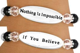 "<br>                  EXCLUSIVELY OURS!!!<BR>              AN ALLAN ROBIN DESIGN<br>W10716B - ""NOTHING IS IMPOSSIBLE""<Br>      TWO-SIDED OVAL DISC STRETCH<Br>      BRACELET FROM $4.16 TO $9.25"