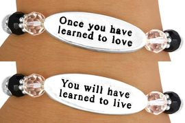 """<Br>                  EXCLUSIVELY OURS!!!<Br>             AN ALLAN ROBIN DESIGN!<BR> W10717B - """"ONCE YOU HAVE LEARNED<BR>     TO LOVE..."""" DOUBLE-SIDED OVAL<br>              DISC STRETCH BRACELET<br>                  FROM $4.16 TO $9.25"""