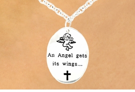 "<br>                        EXCLUSIVELY OURS!<br>                   AN ALLAN ROBIN DESIGN!<bR>W11868N - ""AN ANGEL GETS ITS WINGS...<Br>       ...BY HELPING OTHER PEOPLE FIND<BR>       THEIRS."" DOUBLE-SIDED ANGEL & <BR>          CROSS OVAL NECKLACE&#169;2007<BR>                  FROM $3.35 TO $12.50"