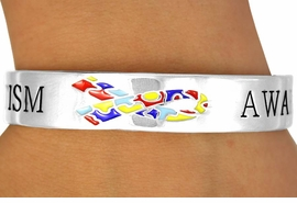 """<Br>               EXCLUSIVELY OURS!!!<Br>          AN ALLAN ROBIN DESIGN!<BR>W11882B - """"AUTISM AWARENESS""""<Br>     & PUZZLE PIECE RIBBON CUFF<Br>           BRACELET &#169;2010 FROM<bR>                     $4.60 TO $7.50"""