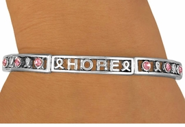 "<Br>                  EXCLUSIVELY OURS!!!<Br>             AN ALLAN ROBIN DESIGN!<BR>       W11900B - ""FAITH HOPE LOVE""<Br>PINK AUSTRIAN CRYSTAL AWARENESS<br>           RIBBON STRETCH BRACELET<Br>                      AS LOW AS $5.15"