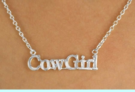 """<bR>                EXCLUSIVELY OURS!!!<Br>            AN ALLAN ROBIN DESIGN!<BR>W11968N - SILVER TONE """"COWGIRL""""<Br>         NECKLACE FROM $2.81 TO $6.25<BR>                                &#169;2009"""