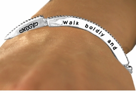 "<Br>                     EXCLUSIVELY OURS!!<Br>               AN ALLAN ROBIN DESIGN!!<Br>       W12601B - ""WALK BOLDLY AND<Br>     WISELY... THERE IS A HAND ABOVE<Br>THAT WILL HELP YOU ON."" STACKABLE<Br>  STRETCH BRACELET AS LOW AS $4.40"