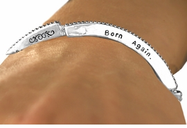 "<Br>             EXCLUSIVELY OURS!!<Br>       AN ALLAN ROBIN DESIGN!!<Br>  W12603B - ""BORN AGAIN. MY<Br>FAITH IS RESTORED. THANK YOU<Br>    JESUS"" STACKABLE STRETCH<Br>     BRACELET AS LOW AS $4.40"