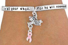 """<bR>                    EXCLUSIVELY OURS!!<Br>               AN ALLAN ROBIN DESIGN!<bR>  W12652B - """"FOR HE WILL COMMAND<Br>      HIS ANGELS CONCERNING YOU...""""<Br>GUARDIAN ANGEL & PINK AWARENESS<Br>           RIBBON STRETCH BRACELET<Br>                 FROM $3.50 TO $7.50"""