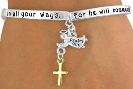 """<bR>                   EXCLUSIVELY OURS!!<Br>              AN ALLAN ROBIN DESIGN!<bR>  W12715B - """"FOR HE WILL COMMAND<Br>     HIS ANGELS CONCERNING YOU...""""<Br>       GUARDIAN ANGEL & GOLD TONE<br>      CROSS DROP STRETCH BRACELET<Br>                   FROM $6.19 TO $13.75"""