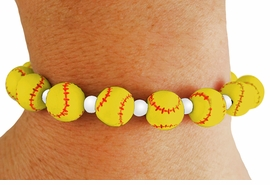 <bR>           EXCLUSIVELY OURS!!<BR>     AN ALLAN ROBIN DESIGN!! <Br> W19762B - SOFTBALL STRETCH<BR>BRACELET FROM $4.50 TO $10.00