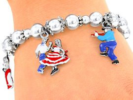 <bR>         EXCLUSIVELY OURS!!!<Br>    AN ALLAN ROBIN DESIGN!<Br>W4039B - SQUARE DANCING<bR>  STRETCH CHARM BRACELET<br>                    $11.68 EACH