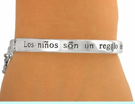 """<BR>              EXCLUSIVELY OURS!<bR>       AN ALLAN ROBIN DESIGN!!<br>  W5281B - """"LOS NI&#209;OS SON UN<bR>REGALO DE DIOS"""" SILVER FINISH<Br>  PANORAMIC SPANISH STRETCH<BR>          BRACELET &#169;2010 FROM<Br>                    $3.94 TO $8.75"""