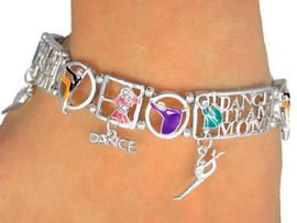 """<Br>                EXCLUSIVELY OURS!<br>         AN ALLAN ROBIN DESIGN!!<br>W9364B - POLISHED SILVER TONE<Br>    """"DANCE TEAM MOM"""" STRETCH<Br> BRACELET FROM $4.50 TO $10.00<BR>                               &#169;2009"""