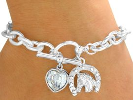 """<bR>               EXCLUSIVELY OURS!!!<Br>          AN ALLAN ROBIN DESIGN!<BR>W9590B - POLISHED SILVER TONE<Br>   """"LUCKY HORSE"""" & HEART DROP<bR>        CHARM TOGGLE BRACELET<bR>              FROM $3.94 TO $8.75"""