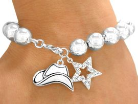<bR>                 EXCLUSIVELY OURS!!!<Br>            AN ALLAN ROBIN DESIGN!<BR> W9592B - POLISHED SILVER FINISH<Br>COWBOY HAT & CRYSTAL STAR DROP<br>STRETCH/LOBSTER CLASP BRACELET<Br>               FROM $4.73 TO $10.50