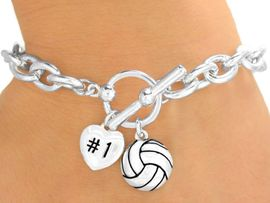 """<Br>                 EXCLUSIVELY OURS!<BR>          AN ALLAN ROBIN DESIGN!!<Br>  W9710B - POLISHED SILVER TONE<br> """"#1"""" HEART & VOLLEYBALL CHARM<br>           TOGGLE BRACELET FROM<Br>                      $4.50 TO $10.00"""
