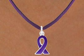 <bR>                 EXCLUSIVELY OURS!!<BR>    CLICK HERE TO SEE 120+ EXCITING<BR>        CHANGES THAT YOU CAN MAKE!<BR>                    LEAD & NICKEL FREE!!<BR>W13644N - PURPLE AWARENESS RIBBON <Br>           ON A PURPLE SUEDE NECKLACE<Br>                      AS LOW AS $3.65