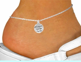 """<bR>              EXCLUSIVELY OURS!!<BR> CLICK HERE TO SEE 120+ EXCITING<BR>  CHANGES THAT YOU CAN MAKE!<BR>             LEAD & NICKEL FREE!!<BR>W421SAK - """"STRENGTH COURAGE<br>         FAITH"""" CIRCLE & ANKLET<bR>                  AS LOW AS $2.85"""