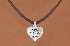 "<bR>                 EXCLUSIVELY OURS!!<BR>   CLICK HERE TO SEE 120+ EXCITING<BR>     CHANGES THAT YOU CAN MAKE!<BR>                LEAD & NICKEL FREE!!<BR>W443SN - ""HOPE STARTS HERE"" HEART <br>       & NECKLACE FROM $4.50 TO $8.35"