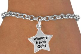 "<bR>               EXCLUSIVELY OURS!!<BR>CLICK HERE TO SEE 120+ EXCITING<BR>   CHANGES THAT YOU CAN MAKE!<BR>              LEAD & NICKEL FREE!!<BR>W450SB - ""WINNERS NEVER QUIT""<BR>STAR & BRACELET AS LOW AS $4.50"